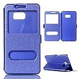 GR Para Samsung Galaxy S6 Edge Plus Ventana Abierta Doble Patrón de Seda Funda Protectora Color sólido Cuero de la PU (Color : Blue)