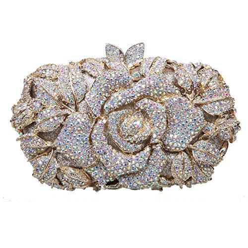 Bonjanvye Shining Studded Rhinestone Rose Flower Clutch Purses and Handbags for Ladies Red AB Gold