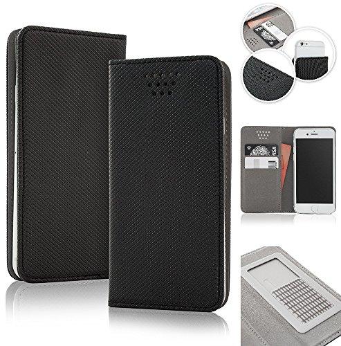 Bralexx universelle Bookstyle-Tasche Hülle Case Cover 2x Kartenfach, 1x Geldfach, praktische Foto-Funktion, verdeckter Magnetverschluss (4,5-5,0 Zoll max. 141 x 70 x 10 mm, Schwarz)