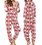 Dreamlove Damen Jumpsuit Onesie Overall Pyjama Schlafanzug Einteiler Trainingsanzug Weihnachten Xmas Ganzkörperanzug Mit Rentiermuster Rot M