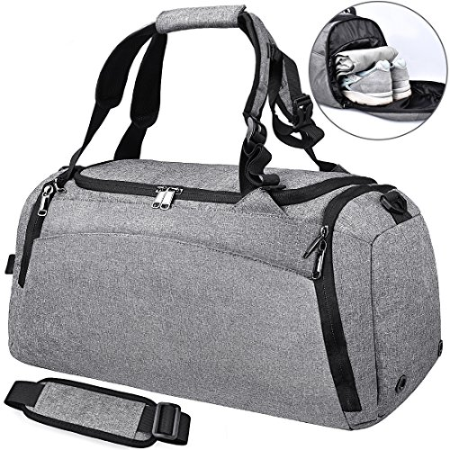 Bolsa Deporte Bolsa Gimnasio de Viaje Impermeable Bolsos Deportivos Fin de Semana Travel Duffle Bag para Hombre y Mujer Negro (gris)