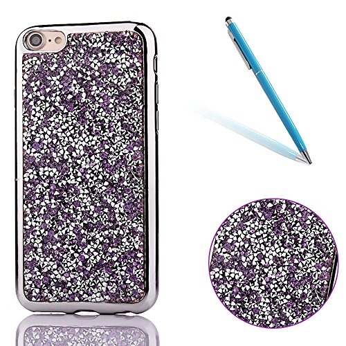"Soft TPU Silicone Cover pour Apple iPhone 7 4.7"", CLTPY 2in1 Jelly Bling Diamant Série Case avec Plaquage Bord Incurvée Résistant Aux Rayures Couverture pour iPhone 7 + 1x Stylet - Or de Luxe Purple"