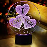 Night Light for Girls, I Love You Heart 3D Illusion Lamp LED Nightlights for Bedroom Ticent 7 Colors Change Touch Switch Table Lamps Decorative Lighting Birthday Festival Gifts for Girlfriend Wife
