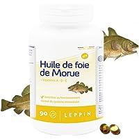 LEPPIN - Huile de FOIE DE MORUE - 90 comprimés - Oméga 3 + Vitamnies A et D - Certifié SANS MÉTAUX LOURDS - Compléments…