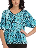 Clovia Printed Bell Sleeve Top In Blue