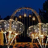 4 PCS 16 Zoll LED-Ballons mit Halterungsstäben LED Transparent Ballon Bobo Luftballons für Geburtstage, Hochzeiten, Feste, Warmweiß