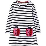 VIKITA Mädchen Kleider Streifen Langarm Baumwolle Herbst Winter T-Shirt Kleid Gr. 80-128