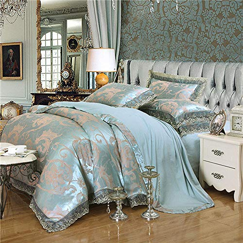 ZPYHJS 4 Stücke Goldene Weiße Farbe Fleck Bettwäsche Set König Queen Size Royal Bett Set Seide Baumwolle Bettbezug Bettlaken Set Kissenbezug @ 10_Queen_Size_4pcs