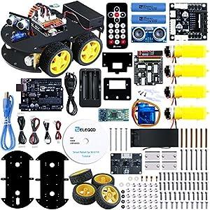 robótica: ELEGOO UNO Proyecto Kit de Coche Robot Inteligente V3.0 con UNO R3, Módulo de Se...