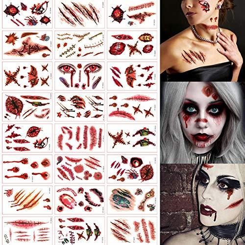 (WTY Halloween-Zombie Gefälschte Narbe Blutiger Terror abwaschbares Tattoo Wasserdichte Tattoo-Aufkleber 24pcs)
