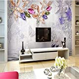 LHDLily 3D Tapete 3D Wallpaper Fresken Wandbilder Verdicken Romantische Blume Diamant Schmuck - Gewebt Papier Tv Vertrag Große Tapeten Home Decor 300Cmx200Cm
