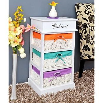 landhaus kommode beistelltisch nachttisch regal in wei mit drei bunten k rben in orange. Black Bedroom Furniture Sets. Home Design Ideas
