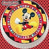 Tortenaufleger mit Micky-Maus-Motiv, flach, vorgeschnitten, essbar, aus Zuckerguss, Gr. L, 19cm, rund, mit Zickzack-Bordüre