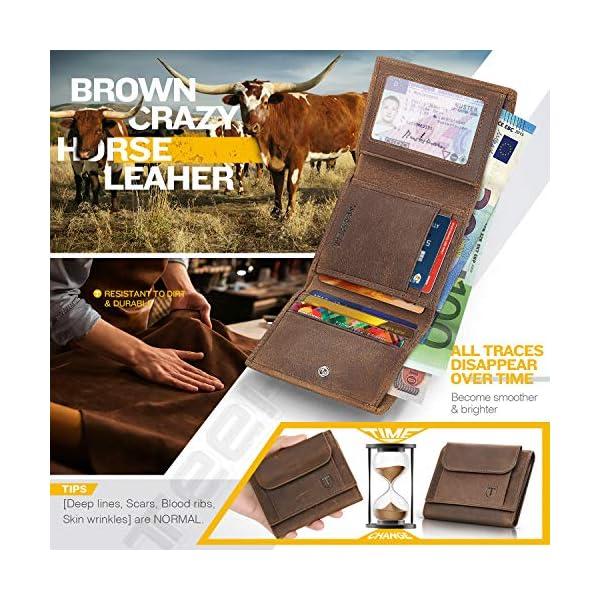 Portafoglio Uomo Piccolo Sottile Blocco RFID Vera Pelle d'olio Trifold con Tasca della moneta Porta Carte Di Credito e… 2 spesavip