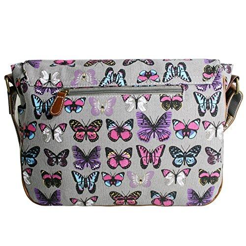 Miss Lulu Damen Mädchen Schmetterling Print Geldbörse, Messenger Crossbody Schulter Handtasche Satchel Grey