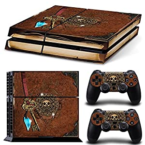 46 North Design Playstation 4 PS4 Folie Skin Sticker Konsole Old Book Treasure aus Vinyl-Folie Aufkleber Und 2 x…