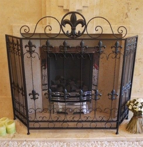 Negro envejecido Vintage chimenea chimenea Surround Spark de malla Nursery Protector de...