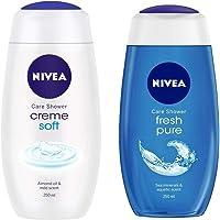 Nivea Shower Gel, Crème Soft Body Wash, Women, 250ml And NIVEA Shower Gel, Fresh Pure Body Wash, 250ml