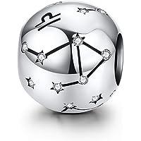 LaMenars Femme Argent Sterling 925 Charms et Perles avec 12 Constellations Compatible pour Pandora & Européen Bracelet…