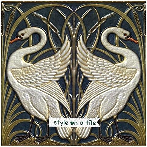 Beautiful Art Nouveau Walter Crane Swans Heart Bullrush Iris Bird 6