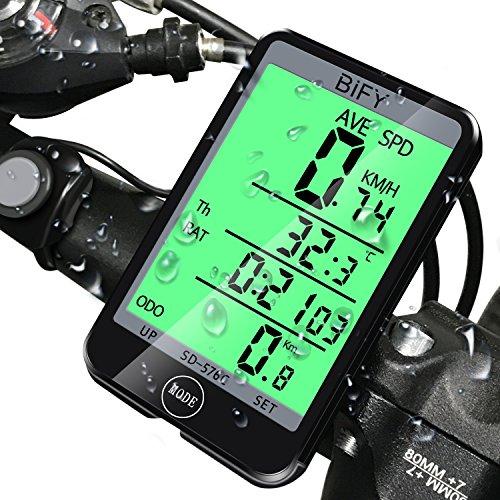 BIFY Fahrradcomputer Fahrradcomputer Kabellos Tachometer 20 Funktion Großbildschirm Touch Lichtsteuerung LCD Hintergrundbeleuchtung Fahrrad Meter Kilometerzähler (Abstand Kabel Grünes)
