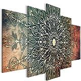 decomonkey | Bilder Mandala 200x100 cm | 5 Teilig | Leinwandbilder | Bild auf Leinwand | Vlies | Wandbild | Kunstdruck | Wanddeko | Wand | Wohnzimmer | Wanddekoration | Deko | Modern Abstrakt Orient braun beige grün