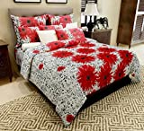 #6: Home Candy 144 TC Red Floral Cotton Double Bedsheet with 2 Pillow Covers - Red (CTN-BST-512)