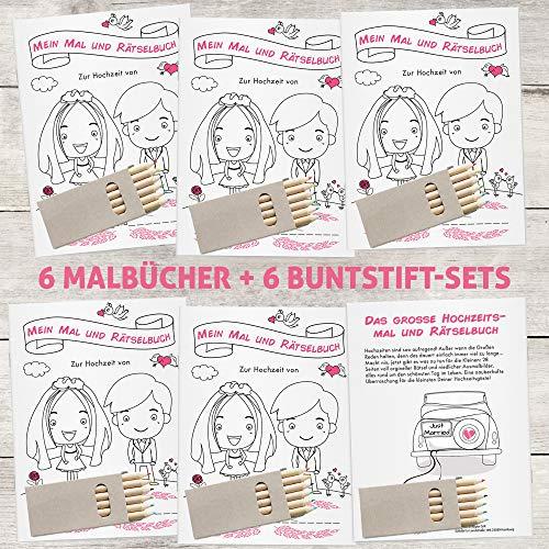 Hochzeitsmalbuch mit Stiften | 6er Set - 2