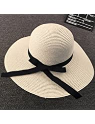 Pare-Soleil D'Été Big Eaves Hat Fashion Lady Butterfly Knot Imitation Chapeau De Paille Plage Voyage Ultraviolet Hat Tide Girl