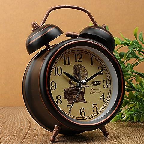 FQQRYY Disattivazione audio di una luce da notte camera da letto letto allarme metallico personalità creativa retrò continentale12*8*5CM,C ALLARME