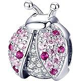 Charm in argento Sterling 925 per braccialetti Pandora, con coccinella e zirconi cubici, colore rosa