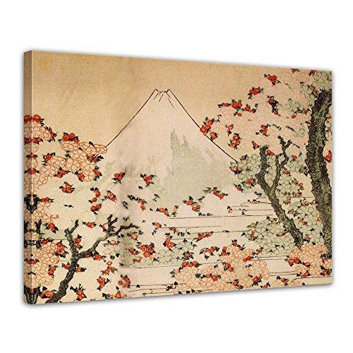 Wandbild Katsushika Hokusai Blick auf den Fujijama mit blühenden Kirschbäumen - 70x50cm quer - Alte Meister Berühmte Gemälde Leinwandbild Kunstdruck Bild auf Leinwand - Katsushika Hokusai