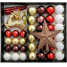 WeRChristmas Shatterproof Luxury Christmas Tree Baubles - 50-Piece, Red/White/Gold/Chocolate/Berry