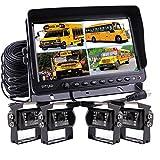 Zhiren- Sistema de cámara de visión trasera de 9 pulgadas Digital Monitor integrado Quad Split pantalla sistema de cámara de seguridad cámara de visión trasera Kit 4x cámara Caravana Cámara