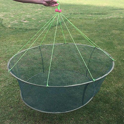 LVEDU Tragbarer, Faltbarer Angeln Netze Guss Fische Garnelen Langusten Catcher Netze Drop Landung Angeln Net Angeln Werkzeuge, Large (Angeln Drop Net)