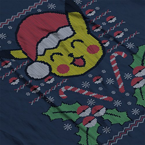 Christmas Pokemon Pikachu Knit Pattern Womens Hooded Sweatshirt Navy blue