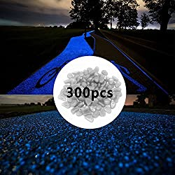 SLOMG - Piedras que brillan en la oscuridad (300 unidades) para estanques, jardín, exteriores, acuarios etc.