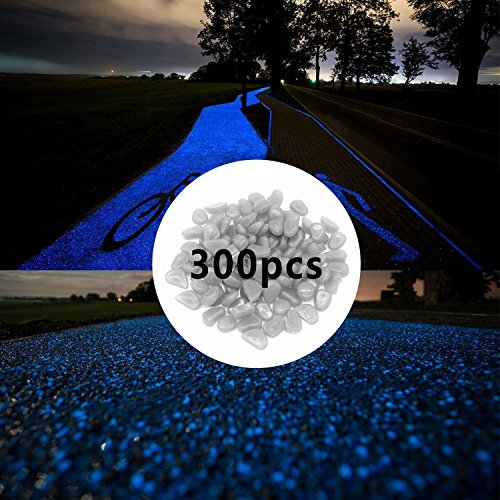 300pcs Night Stones Glow in the Dark Pebbles for Ponds Garden, Outside Bulk Glow in the Dark Aquarium Gravel, Glowing Garden Ornaments Stones, Luminous Pebbles Large Glow Stones for Fish Tank, White / Blue