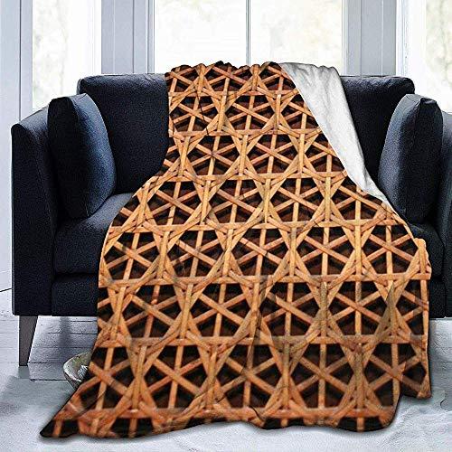 shang-shop Rejilla Tejida de Mimbre Manta de vellón Estampada Mantas Ligeras súper Suaves y acogedoras para sofá Cama Sofá Silla