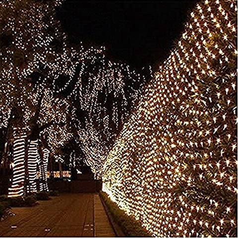 LED Clear Net Lights 1.5m x 1.5m 96 LED Warm White Fairy Lights Outdoor Party Christmas Xmas Wedding Home Garden Decorations 8 Modes for