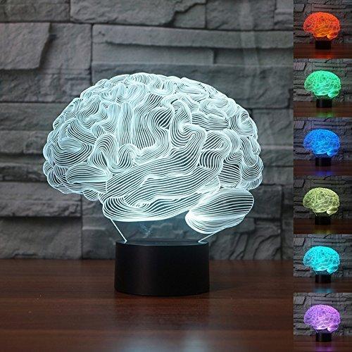 3D Cerebro humano carebellum de la noche Lámpara ajustable 7 colores LED 3d Creative Interruptor táctil estéreo visual atmósfera mesa regalo para Navidad
