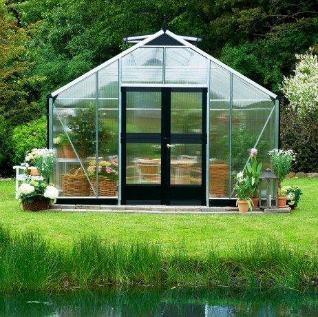 Serre en verre polycarbonate Gardener 18,8m² Gardener_poly18_Alu_avecbase