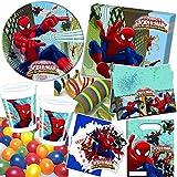 101-teiliges Party-Set * ULTIMATE SPIDERMAN WEB WARRIORS * für Kindergeburtstag mit 6-8 Kinder: Teller, Becher, Servietten, Einladungen, Partytüten, Tischdecke, Luftballons, Luftschlangen u.v.m. // Geburtstag Party Kinderparty Mottoparty Kinder Marvel Spider-Man