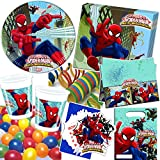 101-teiliges Party-Set * ULTIMATE SPIDERMAN WEB WARRIORS * für Kindergeburtstag mit 6-8 Kinder: Teller, Becher, Servietten, Einladungen, Partytüten, Tischdecke, Luftballons, Luftschlangen u.v.m. // Geburtstag Party Kinderparty Mottoparty Kinder Marvel Spider-Man