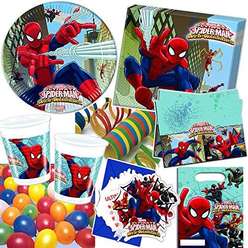 101-teiliges Party-Set * ULTIMATE SPIDERMAN WEB WARRIORS * für Kindergeburtstag mit 6-8 Kinder: Teller, Becher, Servietten, Einladungen, Partytüten, Tischdecke, Luftballons, Luftschlangen u.v.m. // Geburtstag Party Kinderparty Mottoparty Kinder Marvel Spider-Man (Spiderman-geburtstag-kerze)