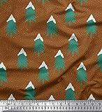 Soimoi Braun Kunstseide Stoff Schnee- und Baum Weihnachten