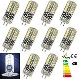 GreenSun 10er-Pack G4 Stiftsockel 3W LED Energiesparlampe Glühbirne 48*3014SMD Leuchtmittel Birne Lampe Kühlesweiß 360º Abstrahlwinkel DC 12V
