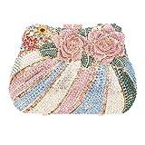 Bonjanvye Multicoloured Studded Diamond and Rhinestone Rose Print Bouquet Clutch Handbag Pink