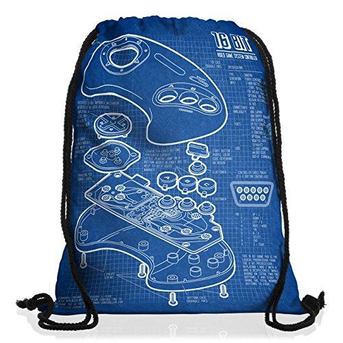 style3 Mega 16-Bit Gamepad Rucksack Tasche Turnbeutel Sport Jute Beutel Konsole Sonic Genesis Handy