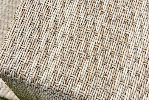 greemotion Rattan-Lounge Toronto – Gartenmöbel-Set 6-teilig aus Polyrattan in Braun-Beige mit Auflagen in Grau – Design-Loungeset mit 2 x Rattansessel, Glastisch & Tisch-Hocker
